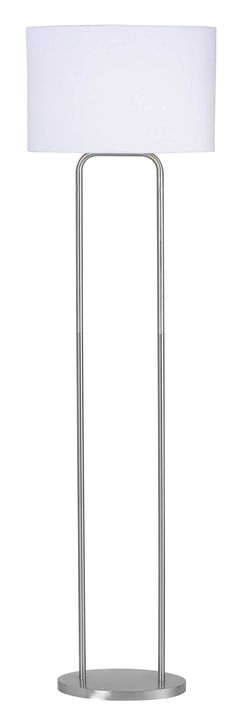 Duet Floor Lamp - With clean curves that suggest a hint of Art Deco, the shape of Duet naturally draws the eye. This lamp's classic Brushed Steel finish and White Oval drum shade make it a versatile choice for casual contemporary or modern homes.