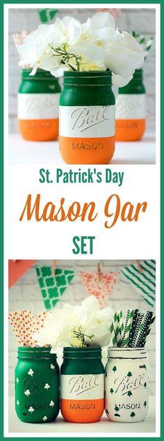 St. Patrick's Day Decor -- Mason Jar vas set with Irish flag colors green, white, and orange #masonjar #stpatricksday #affiliate