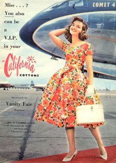 50s fashion dress print ad floral red plane