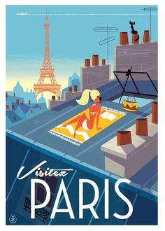 Monsieur Z - Paris Paris Travel, France Travel, Old Poster, Paris Poster, Tourism Poster, Kunst Poster, Air France, Lyon France, Travel Illustration