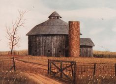 Painting showing a round barn in McCordsville, Indiana, as it originally looked when it was built in 1916....it has now been turned into an inn.