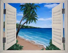 Acrylic painting, window, beach, seascape, ocean view