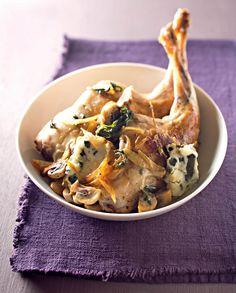 Cuisses de lapin, sauce roquefort