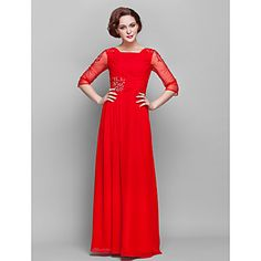 Sheath/Column Square Floor-length Chiffon And Tulle Mother of Bride Dress (682770) – USD $ 149.99