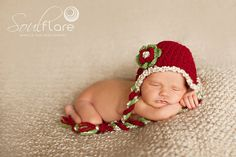Newborn Baby Girl Christmas Red, White and Green Earflap Crochet Hat, Santa Hat, Great for Photo Prop