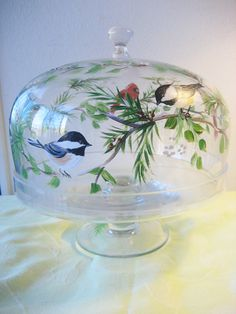 www.facebook.com/cakecoachonline - sharing....hand painted cake plate  footed with winter birds by TivoliGardens, $65.00