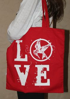 LOVE Hunger Games Red Canvas Tote Bag by ParamountPacific on Etsy, $12.00