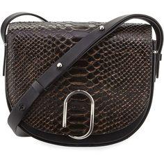 3.1 Phillip Lim Alix Snakeskin Saddle Bag (6.850 HRK) ❤ liked on Polyvore featuring bags, handbags, shoulder bags, nude black, clasp handbag, saddle bags, snake handbags, nude purses and 3.1 phillip lim
