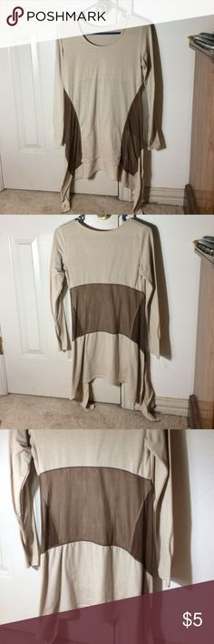 Tan and brown long sleeved and flowy blouse This blouse runs very small with very skinny arms. The brown part is see through so it would look nice with an undershirt. Would look cute with a pair of jeans and brown boots! Only worn one time. Like brand new. Tops Blouses