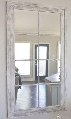 DIY RH French Window Pane Oversized Mirror The Rozy Home