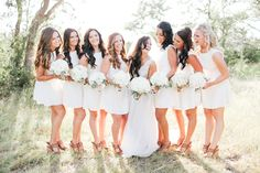 bridesmaids in little white dresses | Feather & Twine