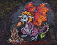 This listing is for an Open Edition ACEO Authorized Art Print titled Lil Dragon 2, Pyro Training. This particular print is available in larger sizes