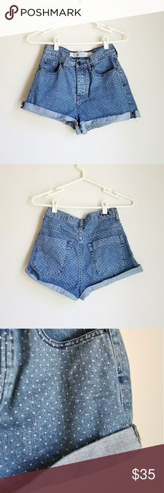 "Rare Brandy Melville high waisted cuff polka short New without tags.   Rare Brandy Melville quirky polka dot high waisted cuff shorts. Size 40.  Will fit xs/small 24/25"" waists best. (Check measurements to ensure fit)   No try on on these cuties, They don't fit me.   Measurements laying flat, taken across:  Waist: 12 1/2"" (25"" w) Hips:  14 1/2""  Rise: 13"" Inseam: 1 1/2""  Retail for 55 dlls. This model is not longer sold at stores. Similarl to American Apparel cuff shorts :3   ● Cool…"