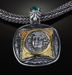 Larissa, ancient coin, set in sterling silver and gold pendant Custom Jewelry Design, Gold Pendant, Pocket Watch, Sterling Silver, Accessories, Gold Pendants, Pocket Watches, Jewelry Accessories