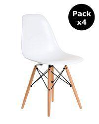 Pack 4 Stuhl Wooden White