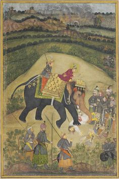 Propaganda piece of its time showing young Akbar's victory over Hemu at the battle of Panipat. By crushing him under an elephant when in fact he had initially spared him but his regent Bairam Khan had Hemu executed. Mughal Miniature Paintings, Mughal Paintings, Islamic Paintings, Indian Art Paintings, Mughal Empire, Indian Artist, Elephant Art, Historical Art, Medieval Art