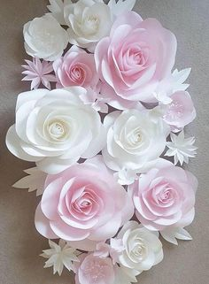 """Large paper flowers made from very high quality paper. This listing is for 14 paper flowers in different sizes from 5"""" to 15 diameter, 5 leaves, and 4 groups of 3 hydrangea flowers. Custom order available."""