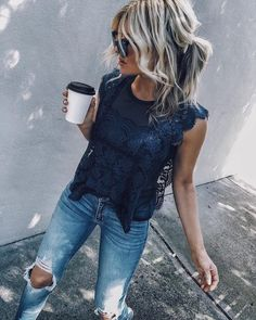 Pretty navy lace top with trendy distressed denim jeans. Mode Outfits, Casual Outfits, Fashion Outfits, Womens Fashion, Jeans Fashion, Dress Casual, Casual Summer Outfits With Jeans, Jeans And T Shirt Outfit Casual, Womens Jeans Outfits