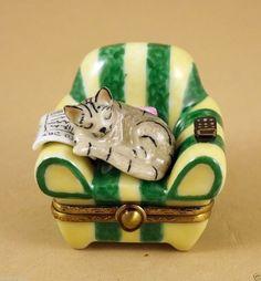 LIMOGES BOX TIGER STRIPED TABBY KITTY CAT KITTEN SLEEPING IN ARMCHAIR