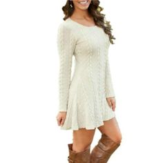 VITIANA Women Causal Plus Size Short Sweater Dress Female Autumn Winter White Long Sleeve Loose knitted Sweaters Dresses Short Sweater Dress, Sweater Dress Outfit, Long Sleeve Sweater, Knit Dress, Dress Long, Sweatshirt Dress, Sheer Dress, Winter Dresses, Casual Dresses