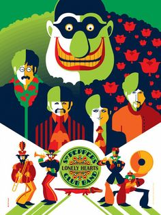 Tom Whalen Yellow Submarine print. The Beatles. Sgt Peppers Lonely Hearts Club Band.