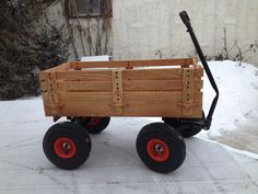 Oak wagon,made from old kids wagon and new oak wood box with removable sides,made by Dale Hutchison