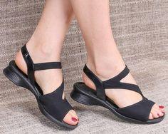 61d02bbc3c0c 90s Black Sandals Wedges LOW HEEL Vintage Sandals Gabor Shoes Textile Upper  Real Leather Inside Summ