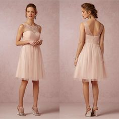 2015 Blush Bridesmaid Dresses Illusion Crew Neck Short Soft Tulle Knee-length Wedding Party Dresses For Junior Girl Bridal Party, $100.4 | DHgate.com