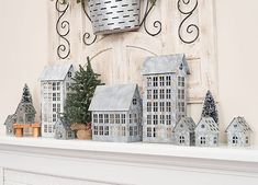 galvanized metal houses, winter fireplace decorations, farmhouse style fireplace decor My Farmhouse Winter Fireplace Decor Farmhouse Christmas Decor, Rustic Christmas, Christmas Home, Cottage Christmas, Farmhouse Style, Farmhouse Decor, Farmhouse Fireplace, Country Style, French Country