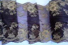 Wide Gold and Chocolate Brown Four Way Stretch Floral Lace
