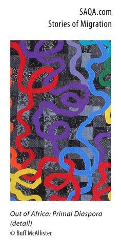 """""""Out of Africa: Primal Diaspora"""" (detail) - art quilt by Buff McAllister"""