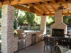 Firepits/outdoor fireplaces on Pinterest   Fire Pits, Fire ... on Covered Outdoor Kitchen With Fireplace id=47954