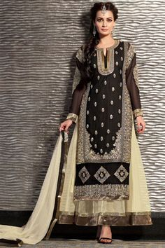 Dia Mirza Georgette, Net Black, Cream Long Salwar Suit