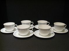 Vintage Corelle Blue Snowflake Garland 6 Cups 6 Saucers White Excellent Tea #Corelle