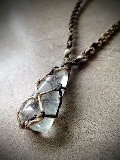 Prasiolite Crystal Hemp Necklace  Really want to learn how to make the net that…