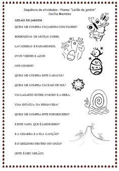 """Sequência de atividades de alfabetização - Poema """"Leilão de Jardim"""" de Cecília Meireles - SÓ ESCOLA"""