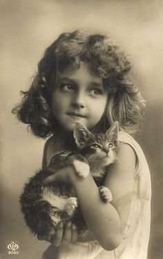 Little Girl with Kitten