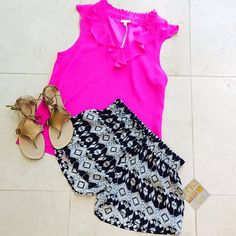 What we are loving! #BrittRyan top #TrinaTurk sandals #Tolani shorts!!! #yesplease #color #musthaves #charlottesstyle