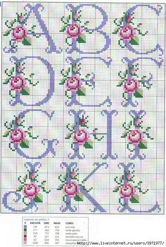 So pretty ~ cross stitch monogram alphabet with roses. - - So pretty ~ cross stitch monogram alphabet with roses. Cross Stitch Alphabet Patterns, Cross Stitch Letters, Cross Stitch Borders, Cross Stitch Flowers, Cross Stitch Charts, Cross Stitch Designs, Cross Stitching, Cross Stitch Embroidery, Stitch Patterns