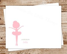 BALLERINA | Personalized Note Cards, Notecards, Stationery - Set of 8 - Ballet Dancer, Silhouette, Dance Teacher - Color Options by CelebrateLilThings on Etsy
