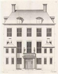 Achtergevel van een woonhuis aan de Keizersgracht te Amsterdam, Bastiaen Stopendael, 1674