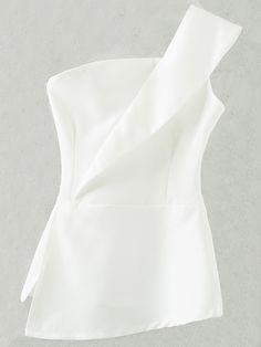 White Zipper Bandeau One Shoulder Top -SheIn(Sheinside) Off One Shoulder Tops, Shoulder Shirts, Bandeau Top, Sewing Blouses, Mode Top, Vetement Fashion, Simple Dresses, Fall Dresses, Feminine Fashion