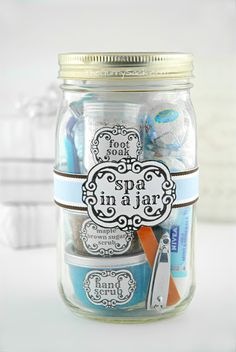 Spa in a jar:  face cleansing cream, lip balm, hair strengthening mud mask, lotion, razor, mini candles, nail clippers, nail file, bath bomb and chocolate truffles, Bath Salts, Sugar Scrub, and Foot Soak.