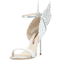 Sophia Webster Evangeline Angel Wing Sandal ($720) ❤ liked on Polyvore featuring shoes, sandals, perola snow, high heel sandals, patent leather shoes, strappy high heel sandals, ankle wrap sandals and strap high heel sandals