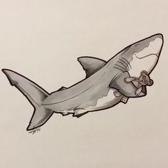 Welcome to Sharktopia! Hammerhead Shark Tattoo, Shark Tattoos, Art Painting Images, Shark Pictures, Shark Art, Great White Shark, Illustration Art, Illustrations, Whale