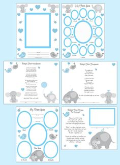 PREMADE SCRAPBOOK PAGES Elephant Baby Boy Memory by decampstudios