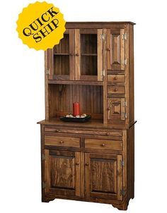 Amish Made Pine Farmhouse Hoosier Hutch Microwave Cabinet Furniture, Hardwood Options, Wooden Pallet Projects, Small Space Kitchen, Amish Furniture, Rustic Furniture, Pine Wood Furniture, Woodworking Furniture, Wood Furniture
