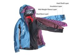 A 4 layer system for multi-day trips in the mountains. The hard shell leaves you prepared for any kind of weather the insulation and mid-weight fleece combine to keep you warm and a Merino wool base layer provides the optimum wicking + insulation ratio. Used Camping Gear, Camping And Hiking, Winter Travel Outfit, Winter Outfits, Hiking Wear, Hiking Training, Hiking Essentials, Ski Fashion, Sporty Fashion