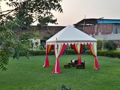 A White Marquee Can Never Go Wrong as you can decorate it with numerous colors every time. Party Tents For Sale, Tent Sale, Goa Wedding, Tent Wedding, Wedding Ideas, Tent Camping, Glamping, Tent Set Up, Canvas Tent