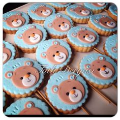 Cookies/ bebek kurabiyesi Teddy Bear Cookies, Baby Cookies, Baby Shower Cupcakes, Shower Cakes, Sugar Cookies, Cake Decorating Tips, Cookie Decorating, Bolo Moana, Torta Baby Shower